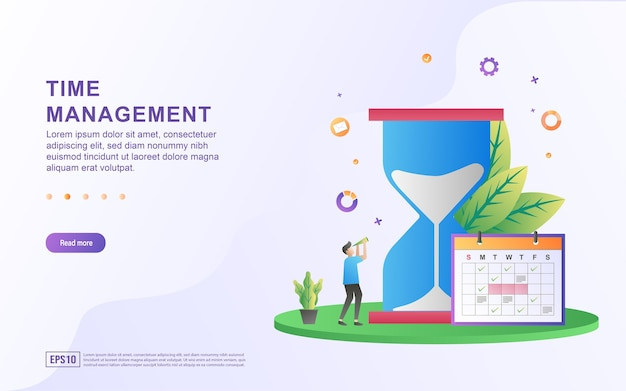 Иллюстрация концепции управления временем с большими песочными часами и календарем.