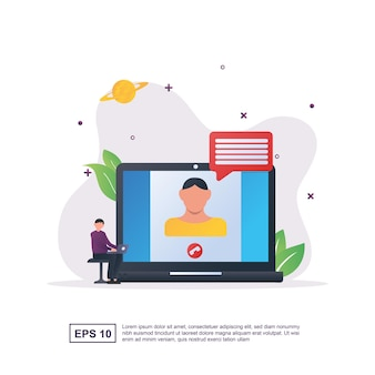 화상 채팅하는 사람들과 화상 채팅의 그림 개념.