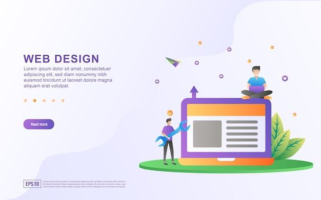 웹에서 레이아웃을 설정하는 사람과 웹 디자인의 그림 개념.