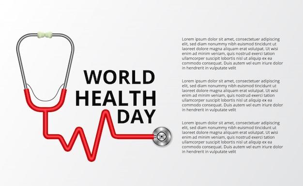 세계 건강의 날의 그림 개념입니다. 하트 비트 펄스가있는 청진기.