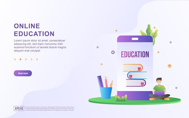 Illustration concept of online education with people who are learning to use laptops.