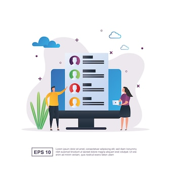 Illustration concept of online recruitment with the candidate on the screen.