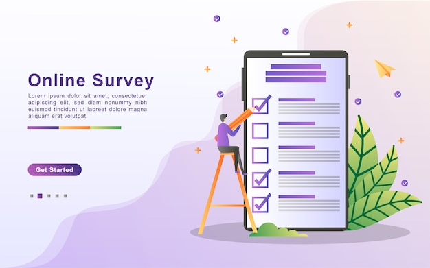 Illustration concept of online support. question and answer survey illustration concept
