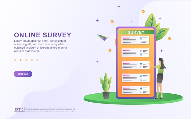 Illustration concept of online survey with the candidate on the smartphone screen.