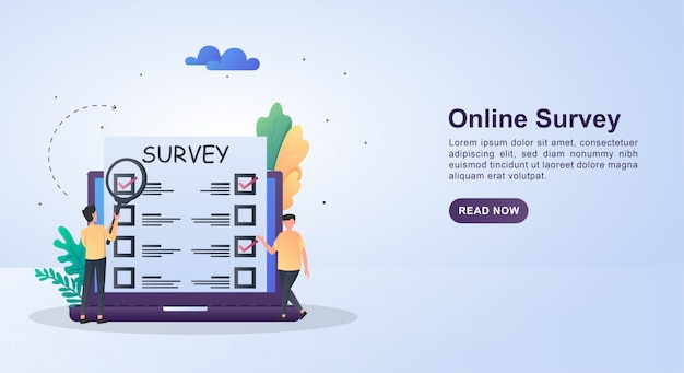 Illustration concept of online survey with the person who is choosing.