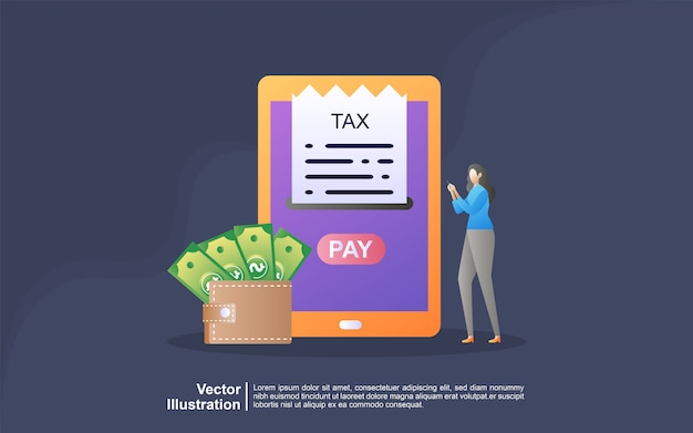 Illustration concept of online tax. filling tax form. business concept.