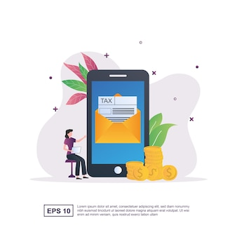 Illustration concept of online tax with an on-screen letter containing a tax form.