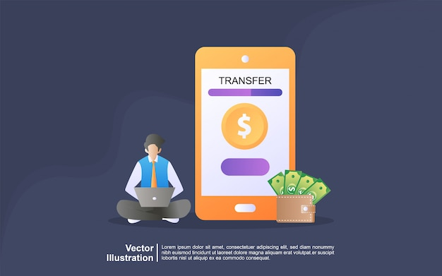 Illustration concept of online transfer. payment using smart phone application and bank account credit card