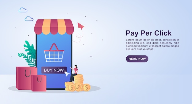 Illustration concept of pay per click with people pressing the click button.