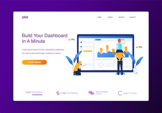 Illustration concept people building website, filling it with content, dashboard interface.
