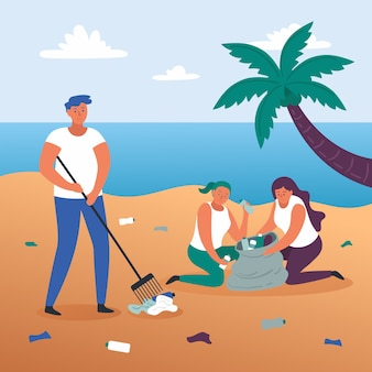 Illustration concept people cleaning beach
