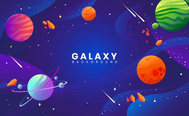 Illustration concept of planet and galaxy