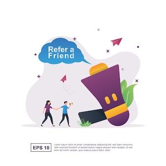 Illustration concept of refer a friend with large megaphones.