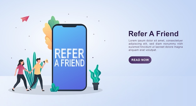Illustration concept of refer a friend with the person holding the megaphone.