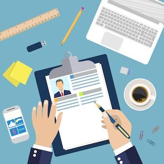 Illustration concept of resume writing,