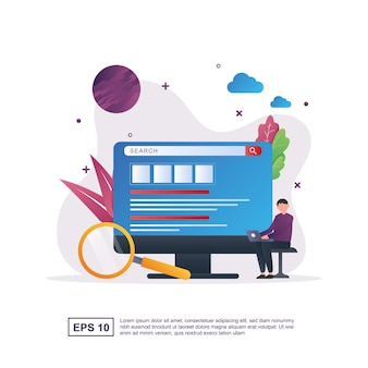 Illustration concept of search with people who are searching on a computer.