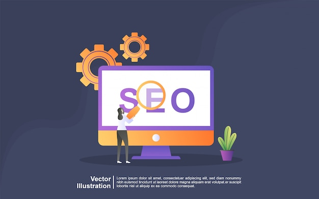 Illustration concept of seo strategy. digital marketing, digital technologies, social media marketing, online marketing concept. can use for, landing page, template, ui, web, mobile app, banner