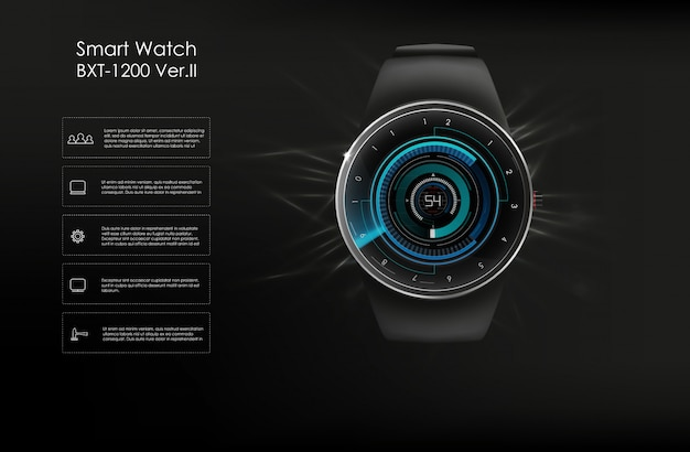 Illustration of concept smartwatch, technology functions and template te