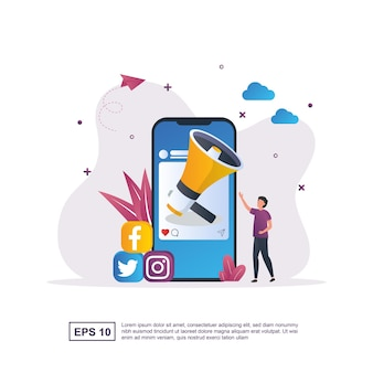 Illustration concept of social media marketing with a large megaphone on the screen.