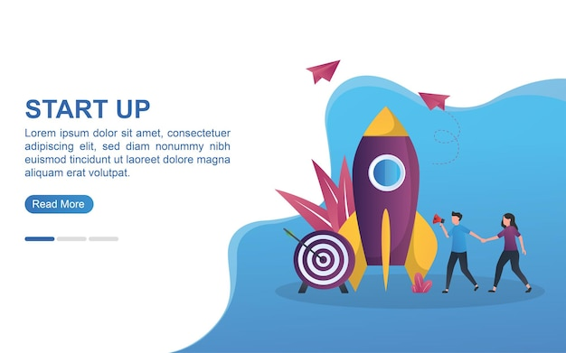 Illustration concept of start up with rockets and targets underneath.