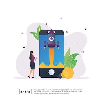 Illustration concept of start up with an upward launching rocket and a light bulb.