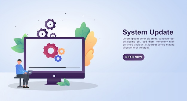 Illustration concept of system update with gears and updating on screen.