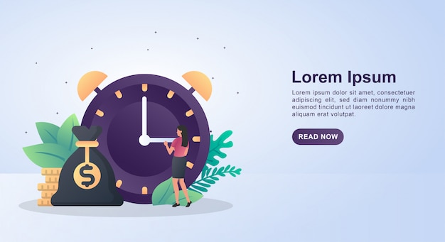 Illustration concept of time is money with a big clock.