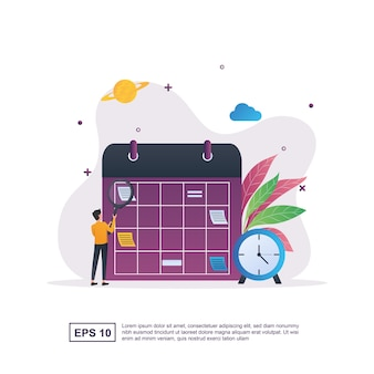 Illustration concept of time management with a schedule board and clock on it.