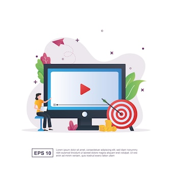 Illustration concept of video marketing with people pointing at the screen.