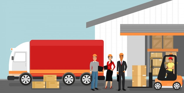 Illustration of concept of warehouse with workers, logistics concept. delivery and transportation of goods, machine, car in flat cartoon style.