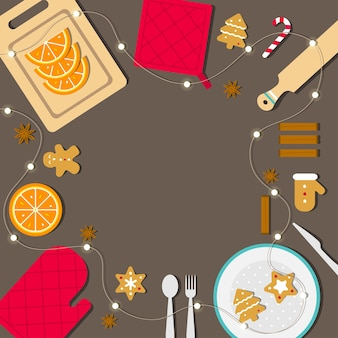 Illustration concept with copy space in center. food to cook christmas dinner. gingerbread cookies with cinnamon