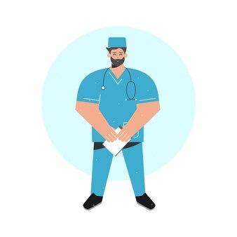 ノートのボードフォルダーを保持している医者とイラストのコンセプト。彼は青い医療の制服を着ています