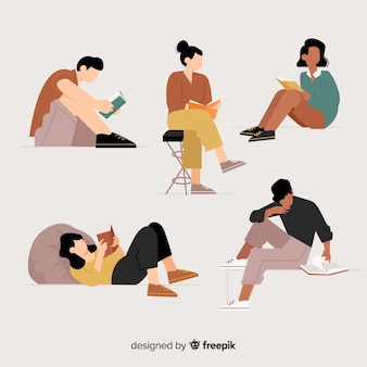 Illustration concept with people reading