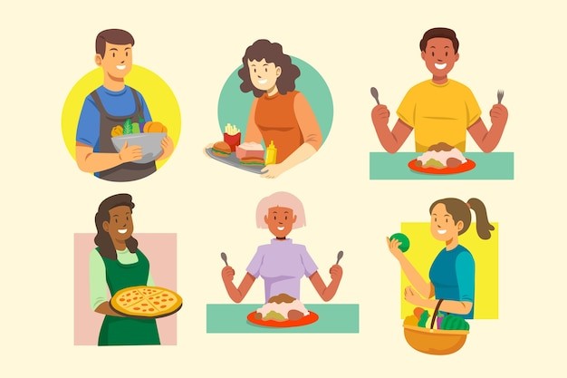 Illustration concept with people with food