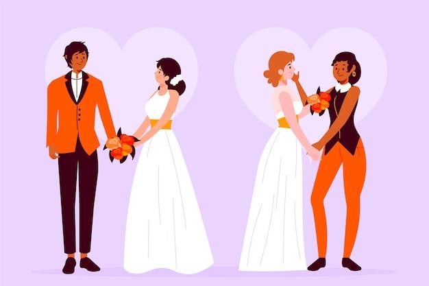 Концепция иллюстрации со свадебными парами