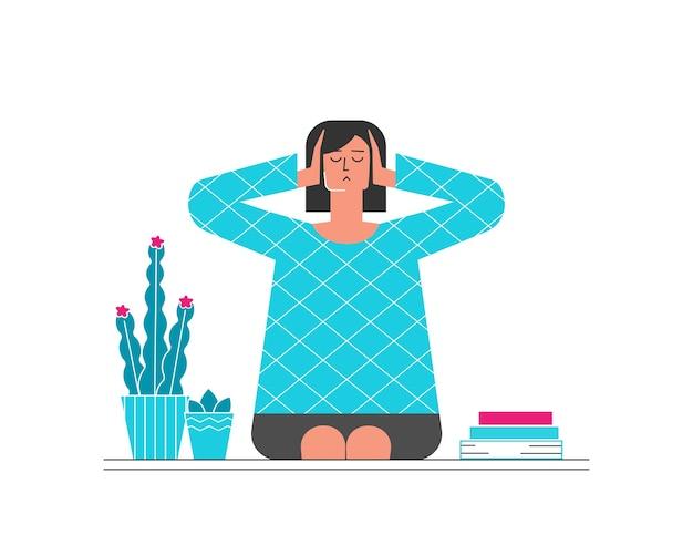집에 앉아서 손으로 귀를 닫는 여자와 그림 개념. 정신 건강 문제. 전문적인 번 아웃