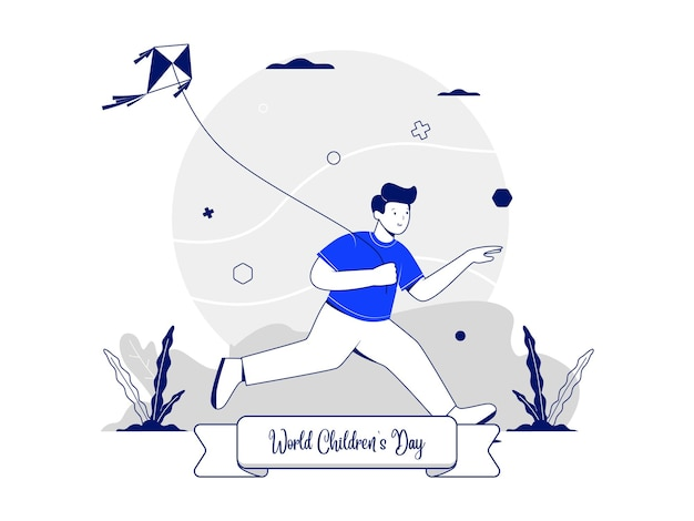 Illustration concept for world children's day with a boy character playing a kite while running