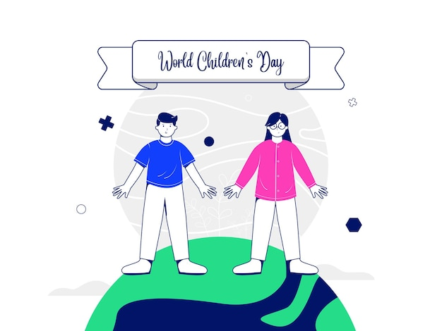 Illustration concept for world childrens day with boy and girl characters standing on a globe