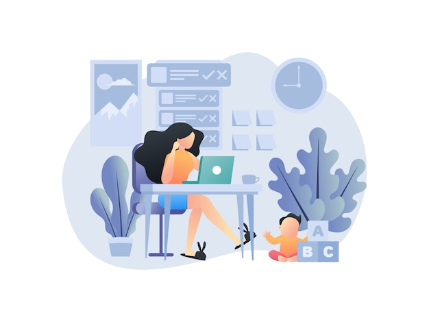 Illustration concepts about working from home with family