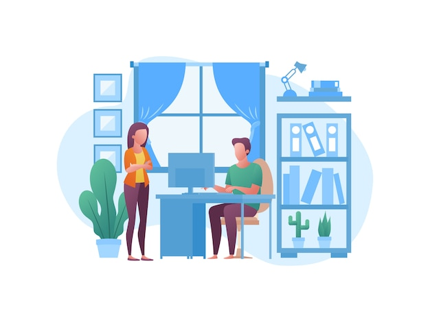 Illustration concepts about working from home
