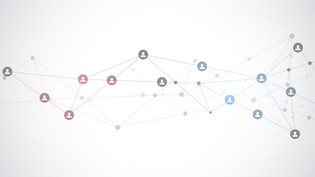 Illustration of connecting people and communication concept, social network.