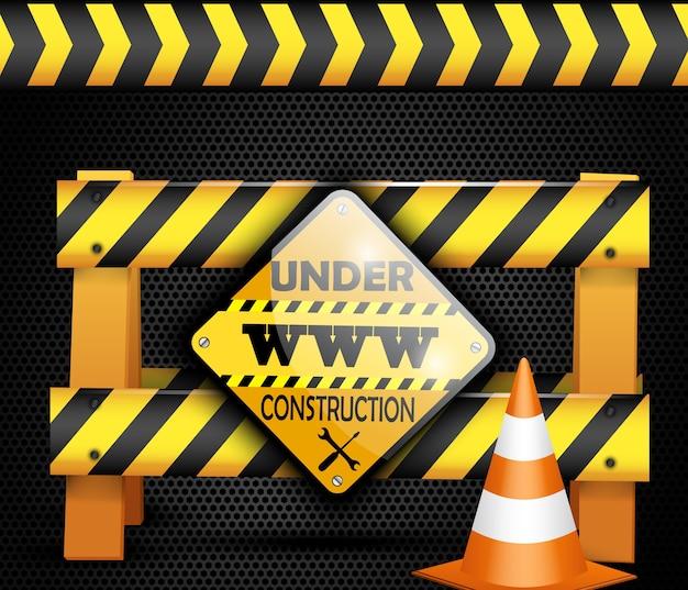 Illustration of under construction barrier over black background