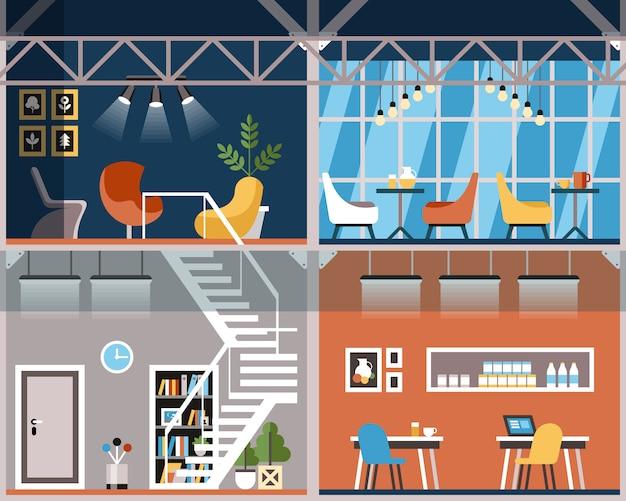 Illustration convenience coworking cartoon.