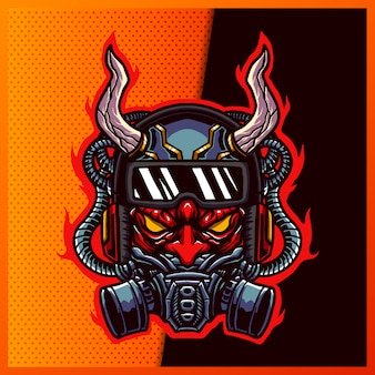 Illustration of cool red devil demon with horn gas mask and google on the yellow background. hand-drawn illustration for mascot sport logo badge label sign