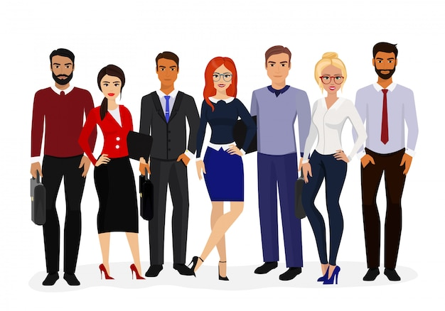 Illustration of cool  set of business characters.