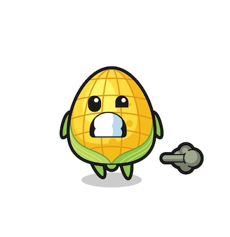 The illustration of the corn cartoon doing fart , cute style design for t shirt, sticker, logo element