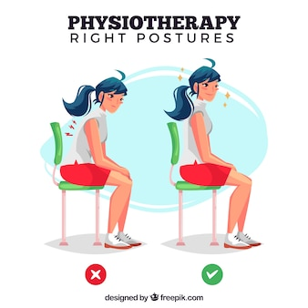Illustration of correct and incorrect posture to sit