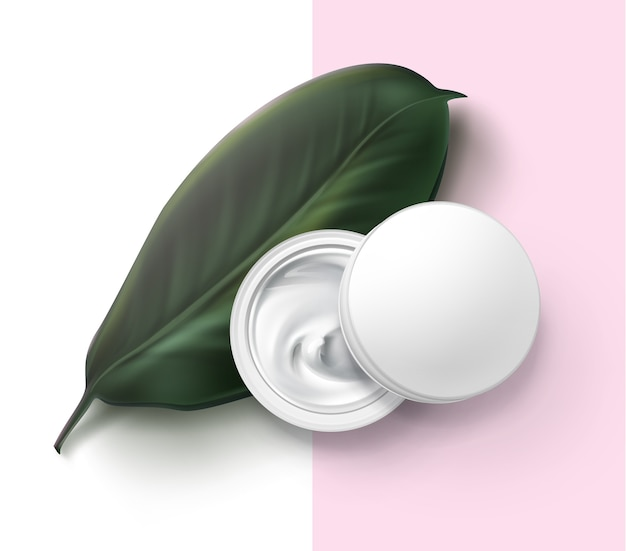 Illustration of cosmetic jar container with white cream on green herbal leaf