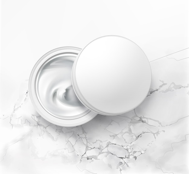 Illustration of cosmetic jar with hygienic cream, top view on white marble background