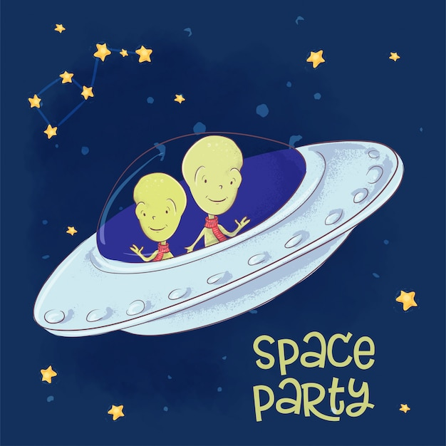 Illustration of cosmic friends in a flying saucer. hand drawing